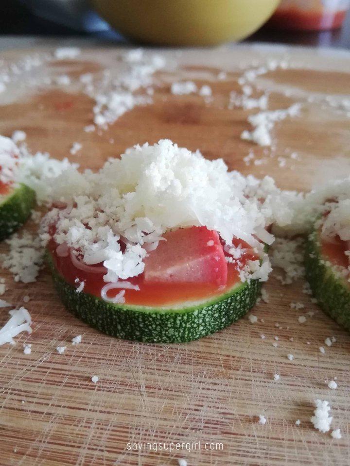 05 savingsupergirl - nailed it zucchini pizza bites - cheese overload